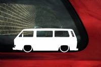 2x Low car outline stickers - for Volkswagen VW T25 / T3 Caravelle Bus, Vintage Transporter